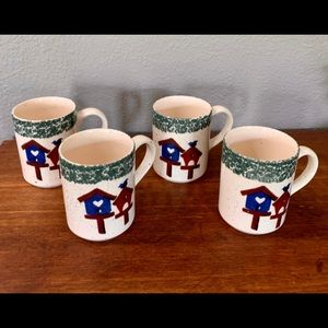 Four Stoneware Coffee mugs/cups With Birdhouses